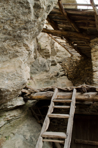 A ladder to climb to the top floor, the barn