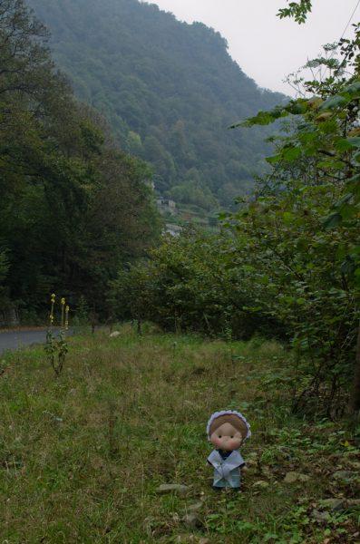 Eccomi arrivata alla Rouchalha, dietro di me c'è la strada che giunge qui da Pradeltorno