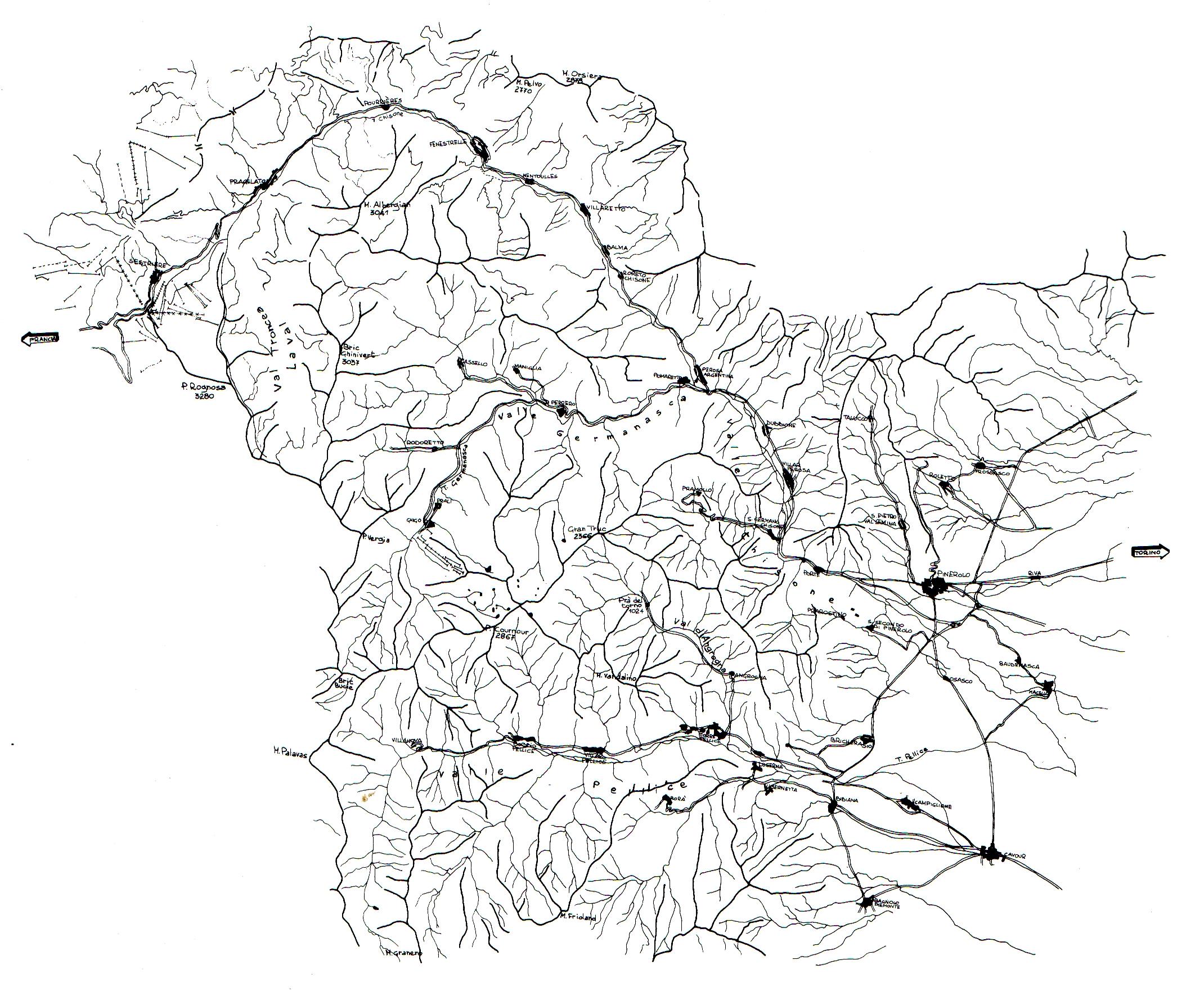 Carta delle valli (tratta da AA. VV., Civiltà alpina e presenza protestante nelle Valli del Pinerolese, Priuli&Verlucca, Ivrea 1991).